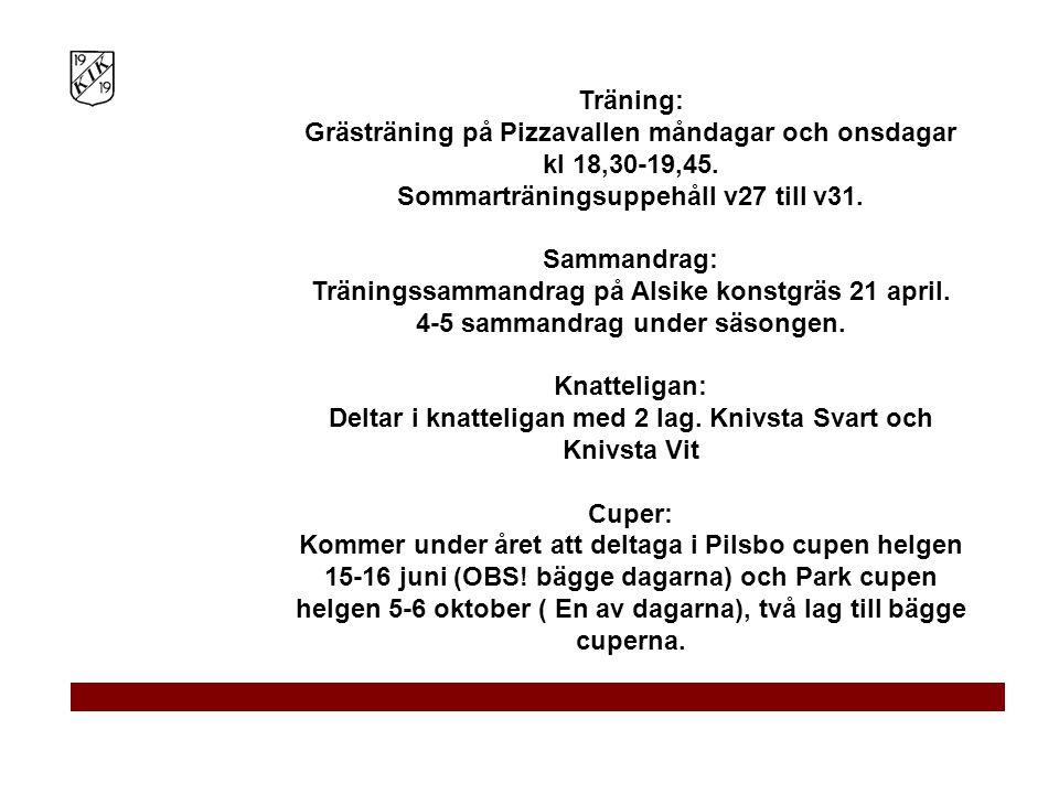 Träning: Grästräning på Pizzavallen måndagar och onsdagar kl 18,30-19,45. Sommarträningsuppehåll v27 till v31. Sammandrag: Träningssammandrag på Alsik