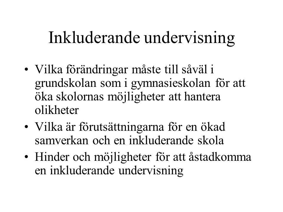 Inkluderande undervisning forts Lyfta fram goda exempel på inkluderande undervisning i Sverige och utomlands Utreda och föreslå åtgärder när det gäller grundskolans förmåga att ta hand om barn i gränszonen mellan grundskola och särskola