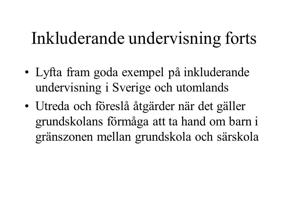 Inkluderande undervisning forts Lyfta fram goda exempel på inkluderande undervisning i Sverige och utomlands Utreda och föreslå åtgärder när det gälle