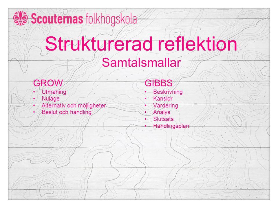 Strukturerad reflektion Samtalsmallar GROW Utmaning Nuläge Alternativ och möjligheter Beslut och handling GIBBS Beskrivning Känslor Värdering Analys Slutsats Handlingsplan