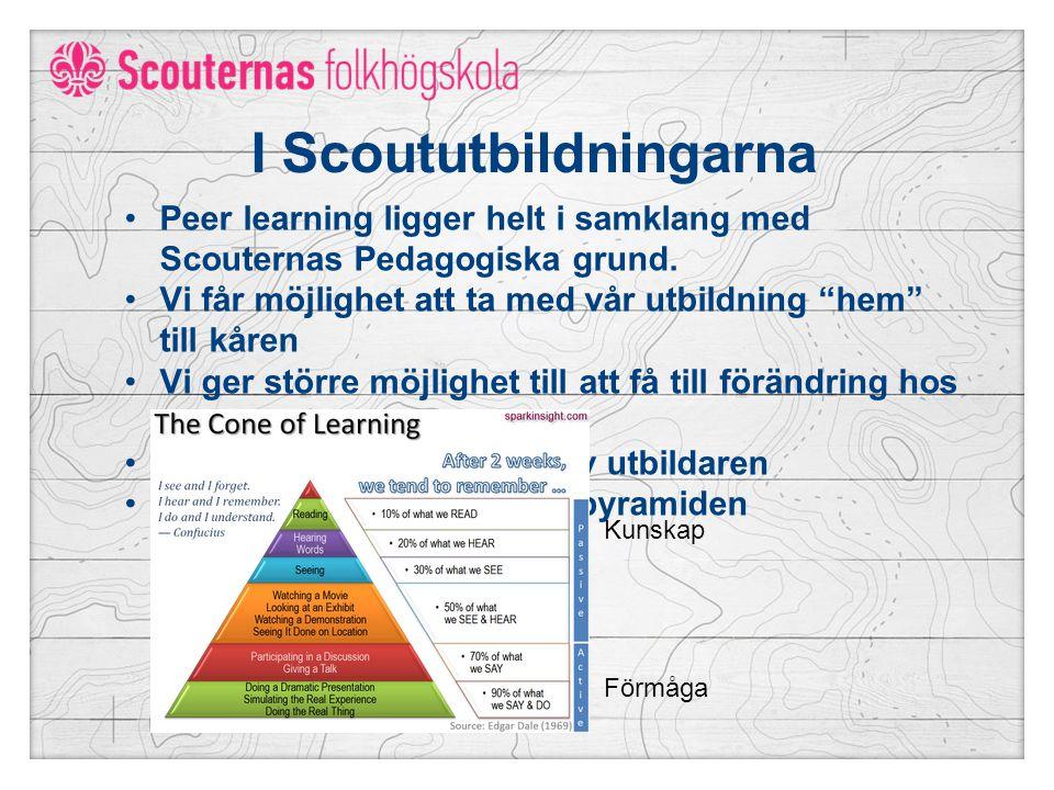 I Scoututbildningarna Peer learning ligger helt i samklang med Scouternas Pedagogiska grund.