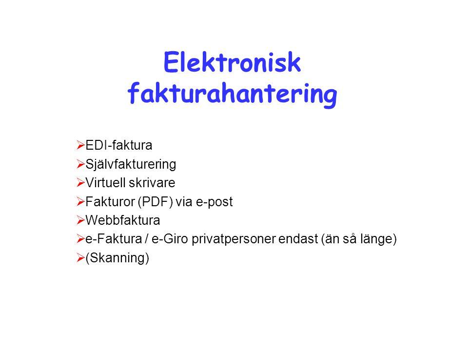 Elektronisk fakturahantering  EDI-faktura  Självfakturering  Virtuell skrivare  Fakturor (PDF) via e-post  Webbfaktura  e-Faktura / e-Giro priva