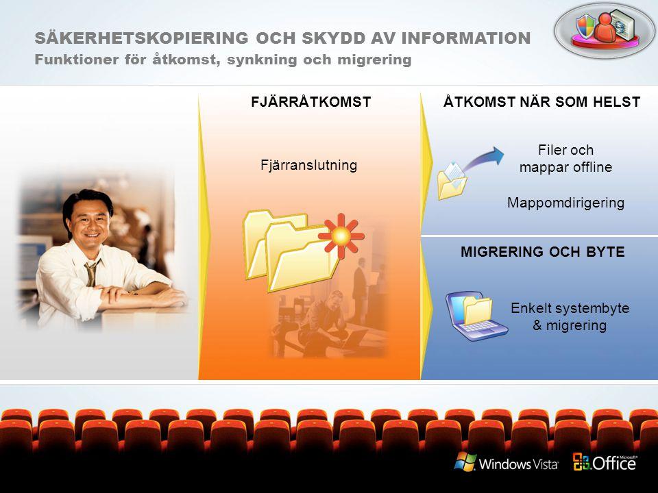SÄKERHETSKOPIERING OCH SKYDD AV INFORMATION Funktioner för åtkomst, synkning och migrering FJÄRRÅTKOMST Filer och mappar offline Mappomdirigering Enke