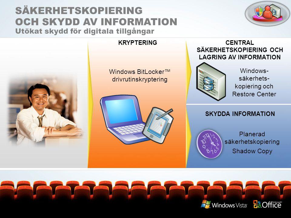 SÄKERHETSKOPIERING OCH SKYDD AV INFORMATION Utökat skydd för digitala tillgångar Windows- säkerhets- kopiering och Restore Center KRYPTERINGCENTRAL SÄ