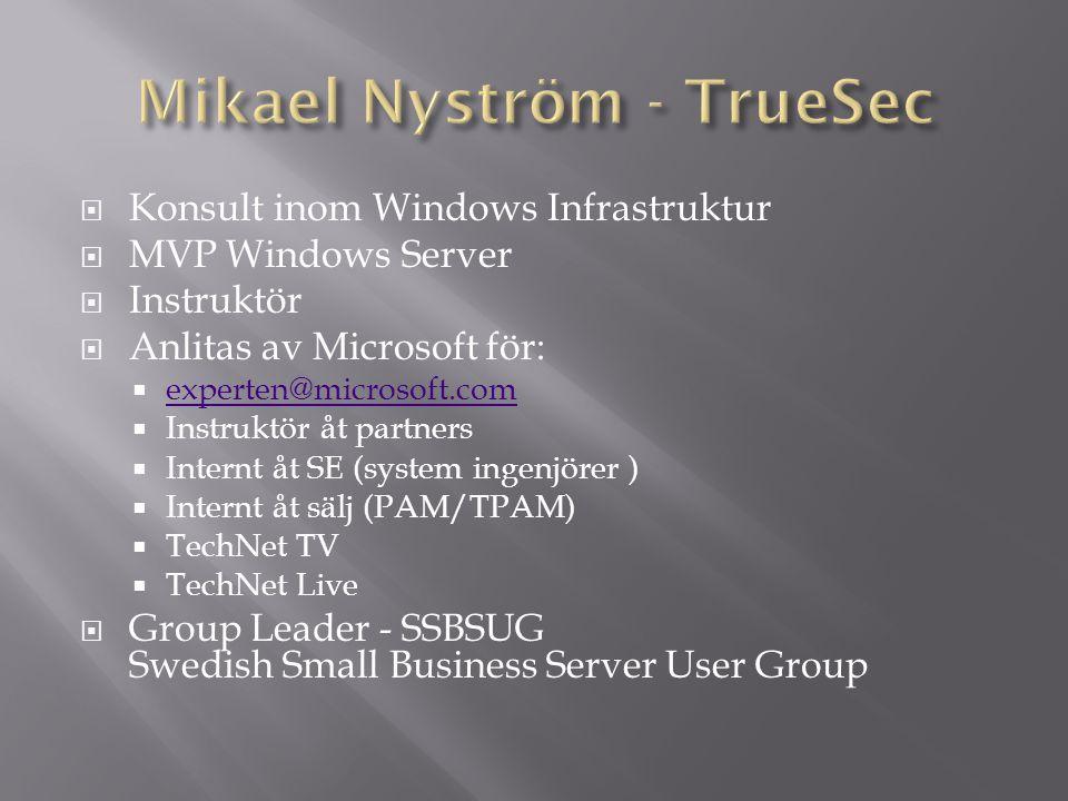  Windows Server  Virtual Server  Deployment  BDD och OPK  System Management  MOM & SMS  Small Business Server