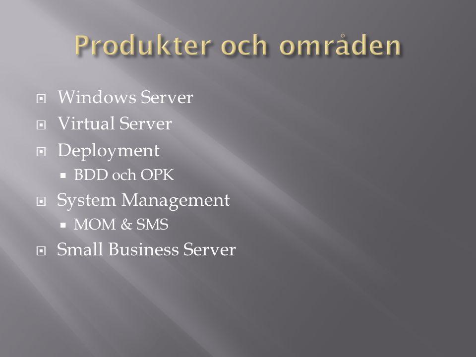  Virtual Server – 2 Dagar  Backup, Restore, Recover – SBS2003  Bygg ut, Bygg till, Bygg om – SBS2003