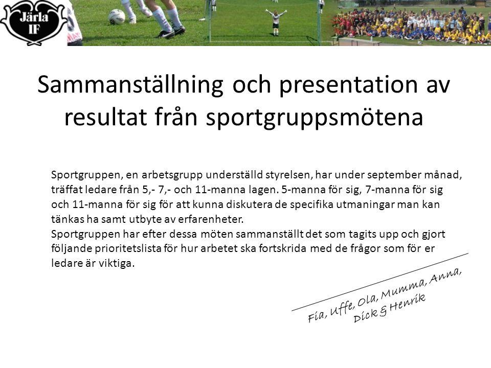 Sammanställning och presentation av resultat från sportgruppsmötena Sportgruppen, en arbetsgrupp underställd styrelsen, har under september månad, träffat ledare från 5,- 7,- och 11-manna lagen.
