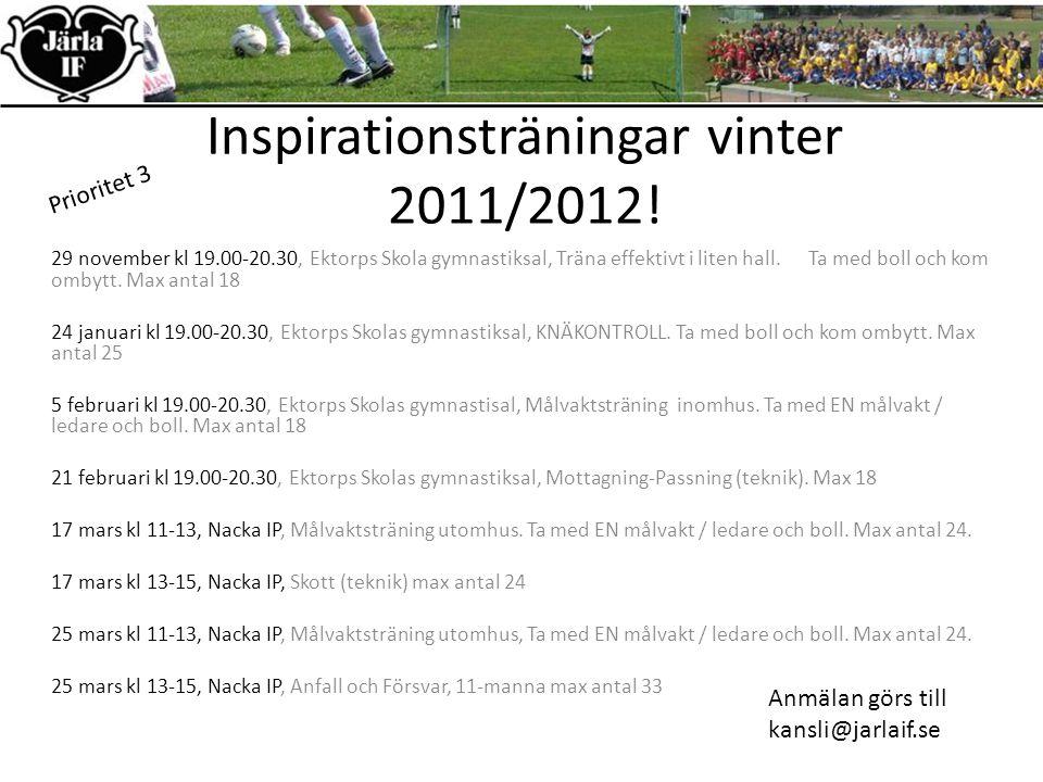 Inspirationsträningar vinter 2011/2012.