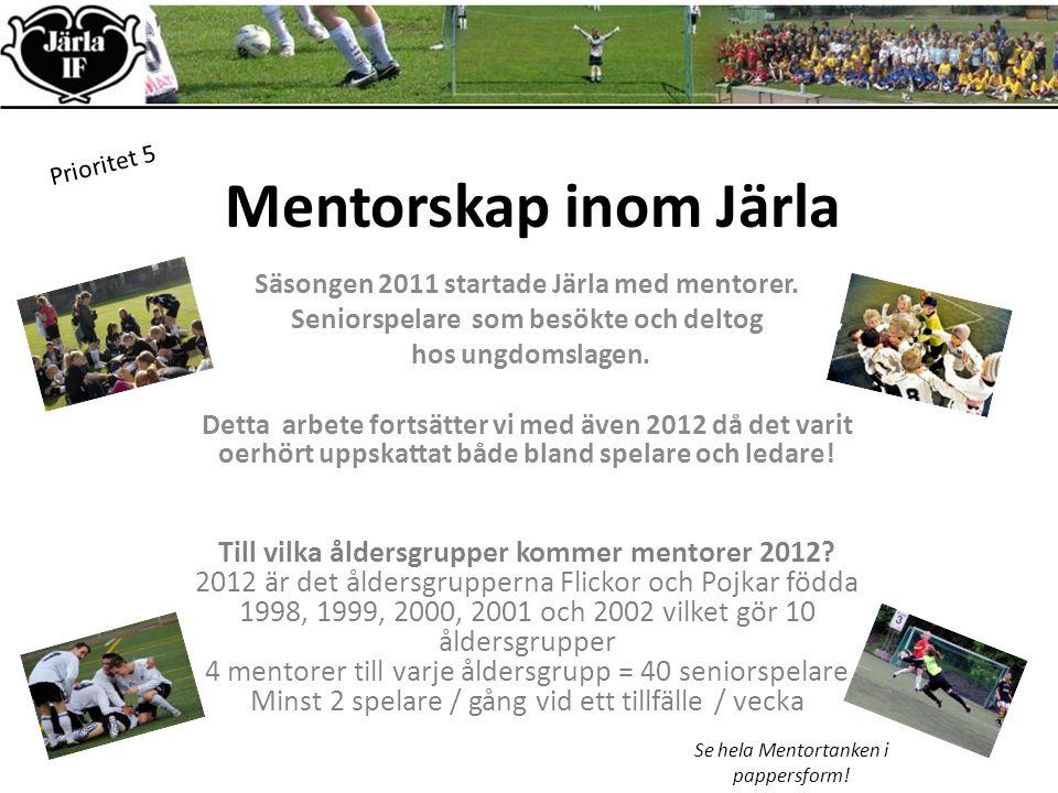 Mentorskap inom Järla Prioritet 5 Säsongen 2011 startade Järla med mentorer.