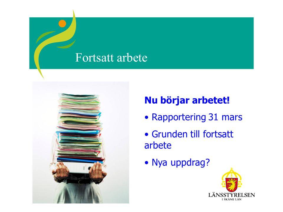 Fortsatt arbete Nu börjar arbetet! Rapportering 31 mars Grunden till fortsatt arbete Nya uppdrag?