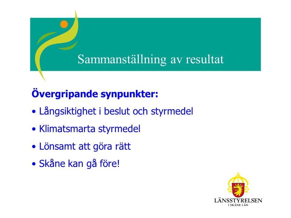 Sammanställning av resultat Övergripande synpunkter: Långsiktighet i beslut och styrmedel Klimatsmarta styrmedel Lönsamt att göra rätt Skåne kan gå fö