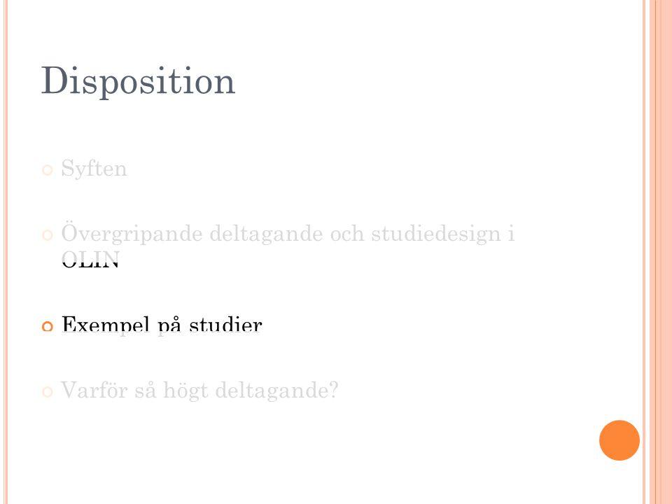 Disposition Syften Övergripande deltagande och studiedesign i OLIN Exempel på studier Varför så högt deltagande?