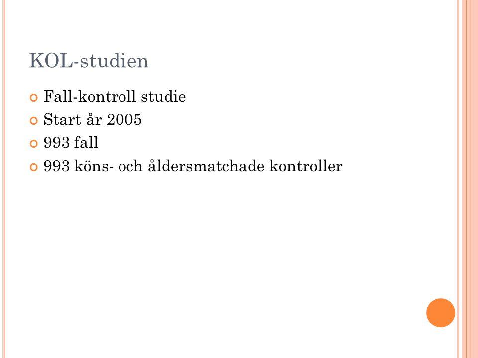 KOL-studien Fall-kontroll studie Start år 2005 993 fall 993 köns- och åldersmatchade kontroller