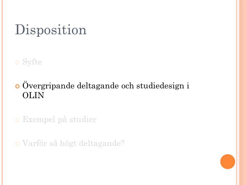 Disposition Syfte Övergripande deltagande och studiedesign i OLIN Exempel på studier Varför så högt deltagande?