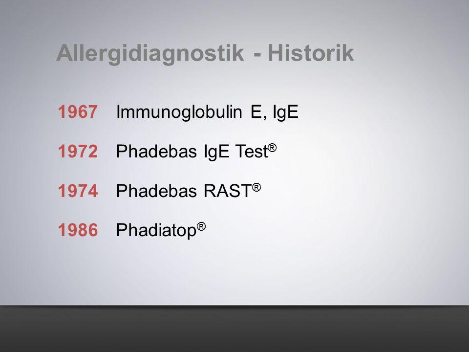 1967Immunoglobulin E, IgE 1972Phadebas IgE Test ® 1974Phadebas RAST ® 1986Phadiatop ® Allergidiagnostik - Historik