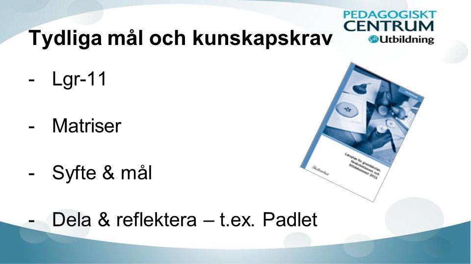 Tydliga mål och kunskapskrav -Lgr-11 -Matriser -Syfte & mål -Dela & reflektera – t.ex. Padlet