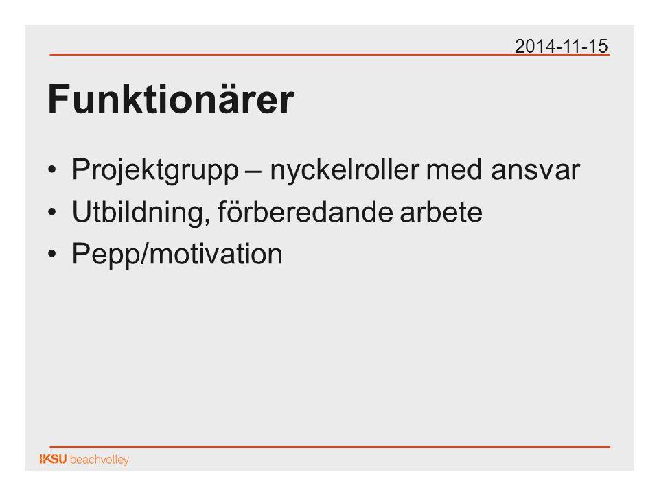 Funktionärer Projektgrupp – nyckelroller med ansvar Utbildning, förberedande arbete Pepp/motivation 2014-11-15
