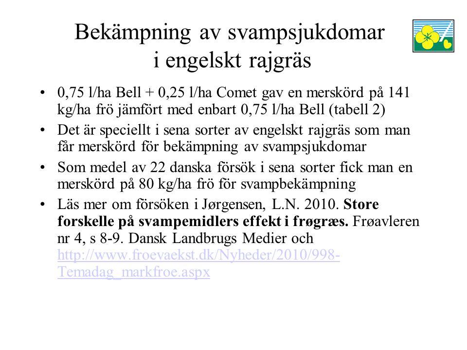Bekämpning av svampsjukdomar i engelskt rajgräs 0,75 l/ha Bell + 0,25 l/ha Comet gav en merskörd på 141 kg/ha frö jämfört med enbart 0,75 l/ha Bell (tabell 2) Det är speciellt i sena sorter av engelskt rajgräs som man får merskörd för bekämpning av svampsjukdomar Som medel av 22 danska försök i sena sorter fick man en merskörd på 80 kg/ha frö för svampbekämpning Läs mer om försöken i Jørgensen, L.N.