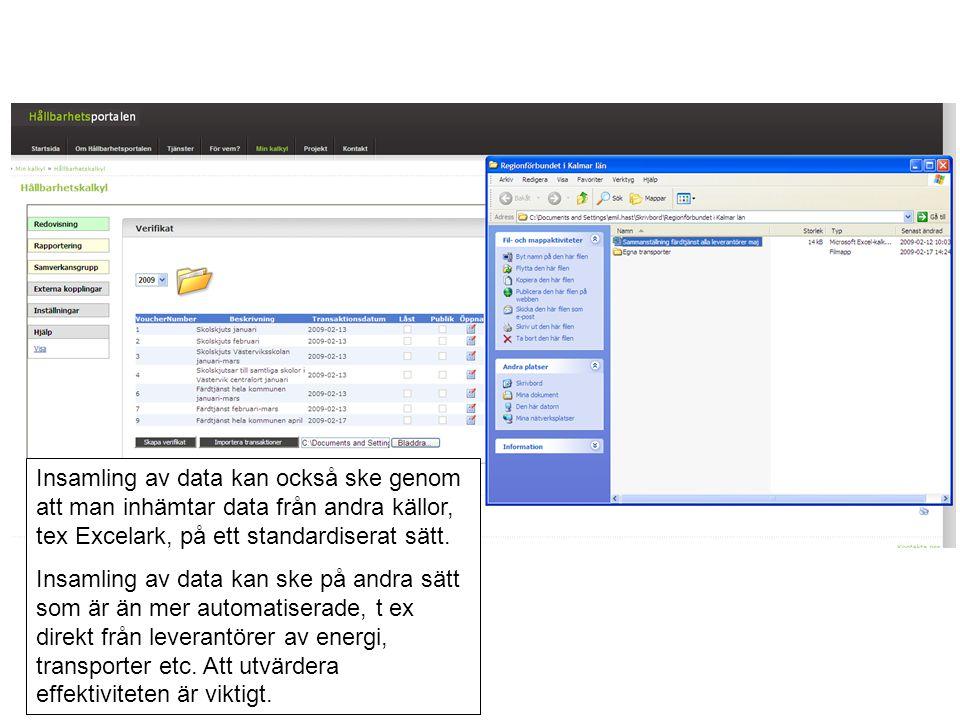 Insamling av data kan också ske genom att man inhämtar data från andra källor, tex Excelark, på ett standardiserat sätt. Insamling av data kan ske på