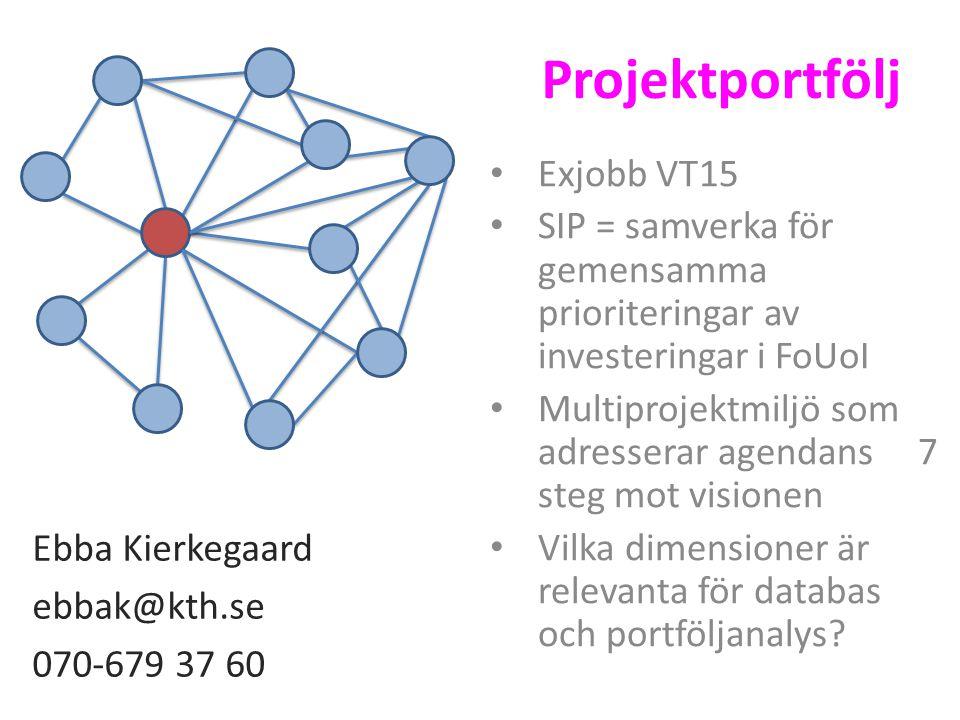 Projektportfölj Exjobb VT15 SIP = samverka för gemensamma prioriteringar av investeringar i FoUoI Multiprojektmiljö som adresserar agendans 7 steg mot visionen Vilka dimensioner är relevanta för databas och portföljanalys.
