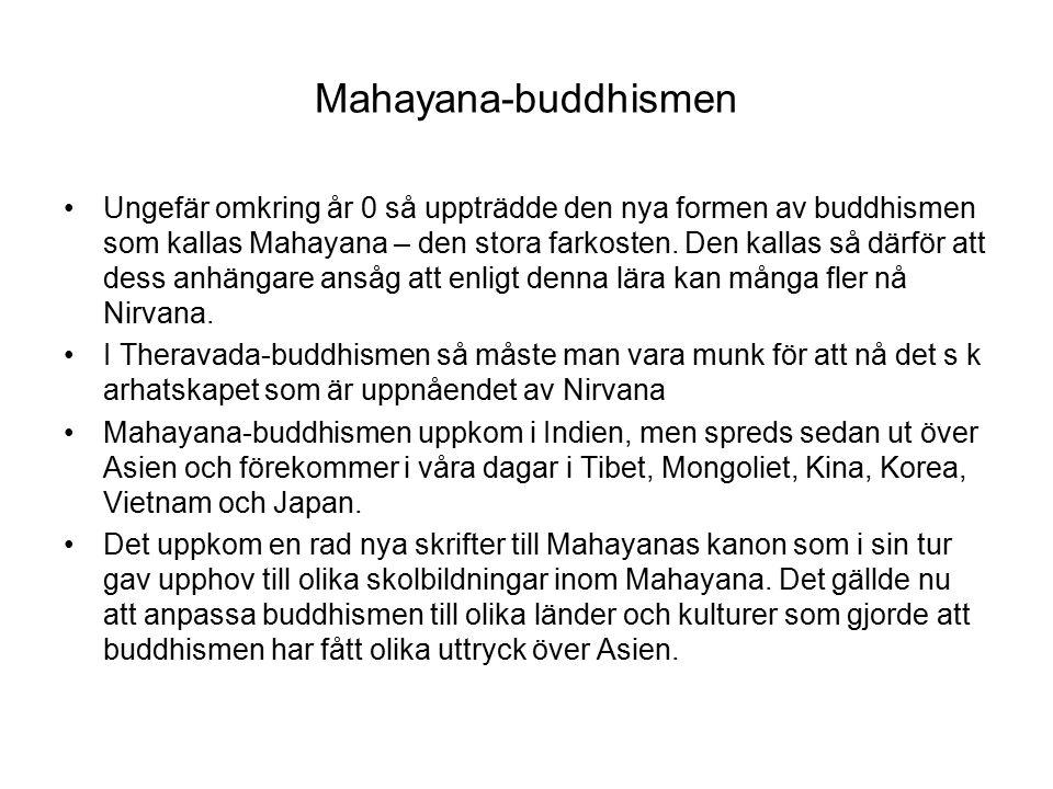Mahayana-buddhismen Ungefär omkring år 0 så uppträdde den nya formen av buddhismen som kallas Mahayana – den stora farkosten.