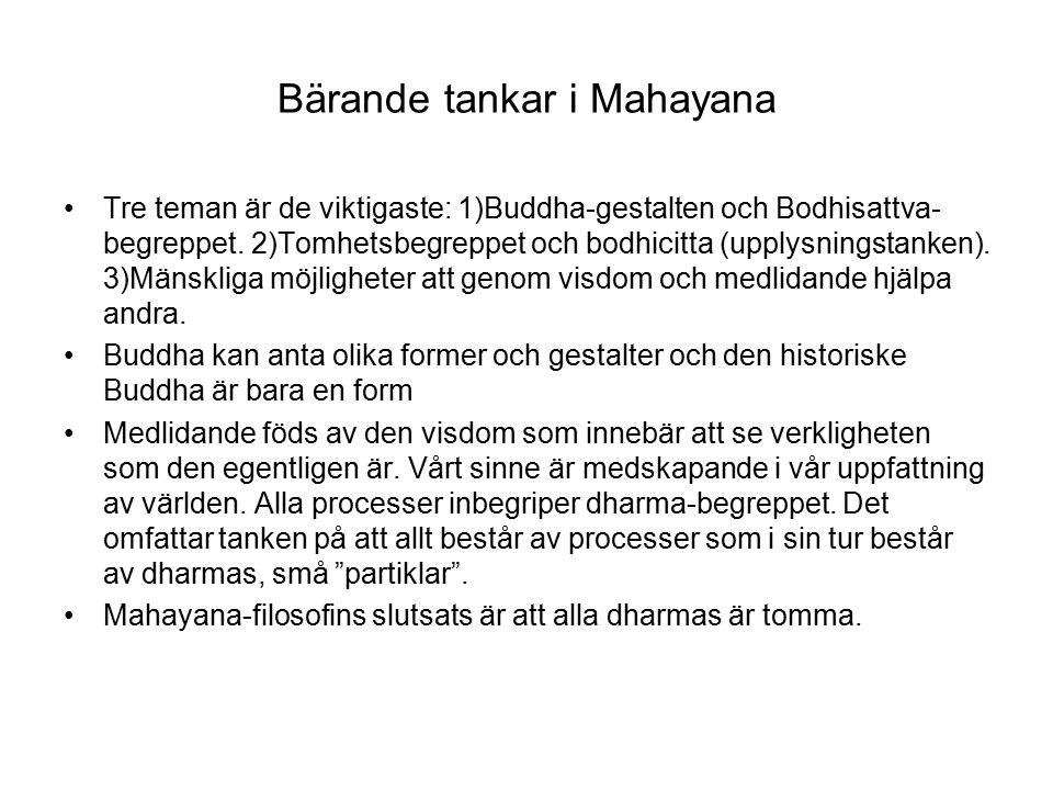 Bärande tankar i Mahayana Tre teman är de viktigaste: 1)Buddha-gestalten och Bodhisattva- begreppet.