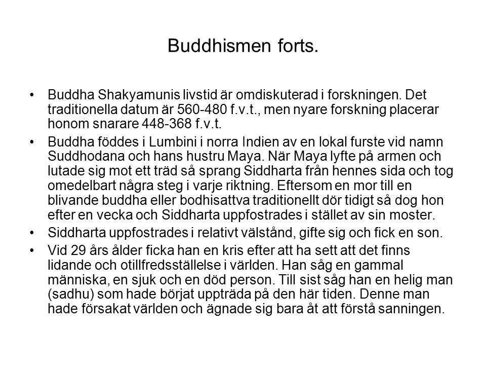 Buddhismen forts.Buddha Shakyamunis livstid är omdiskuterad i forskningen.
