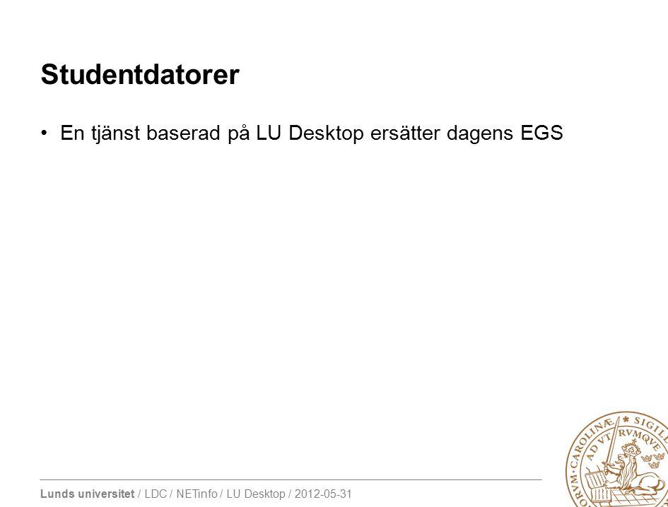 Lunds universitet / LDC / NETinfo / LU Desktop / 2012-05-31 Studentdatorer En tjänst baserad på LU Desktop ersätter dagens EGS