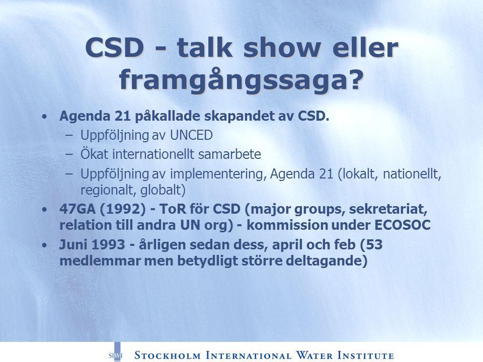 CSD - talk show eller framgångssaga? Agenda 21 påkallade skapandet av CSD. –Uppföljning av UNCED –Ökat internationellt samarbete –Uppföljning av imple