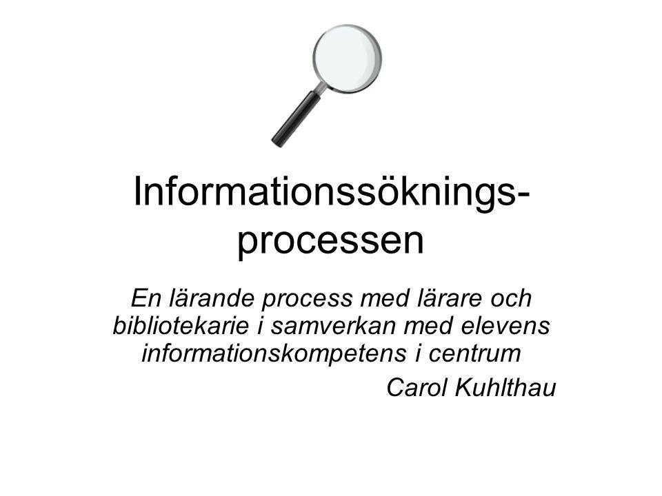 Informationssöknings- processen En lärande process med lärare och bibliotekarie i samverkan med elevens informationskompetens i centrum Carol Kuhlthau