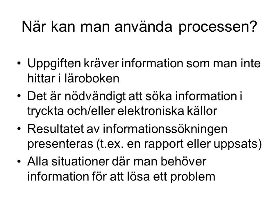När kan man använda processen? Uppgiften kräver information som man inte hittar i läroboken Det är nödvändigt att söka information i tryckta och/eller