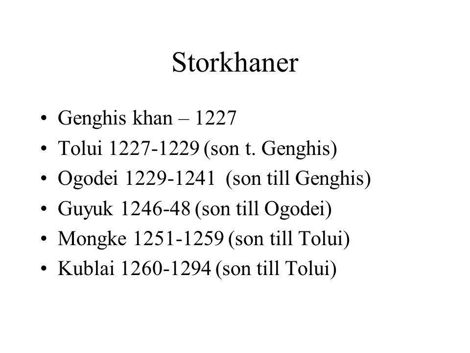 Storkhaner Genghis khan – 1227 Tolui 1227-1229 (son t. Genghis) Ogodei 1229-1241 (son till Genghis) Guyuk 1246-48 (son till Ogodei) Mongke 1251-1259 (