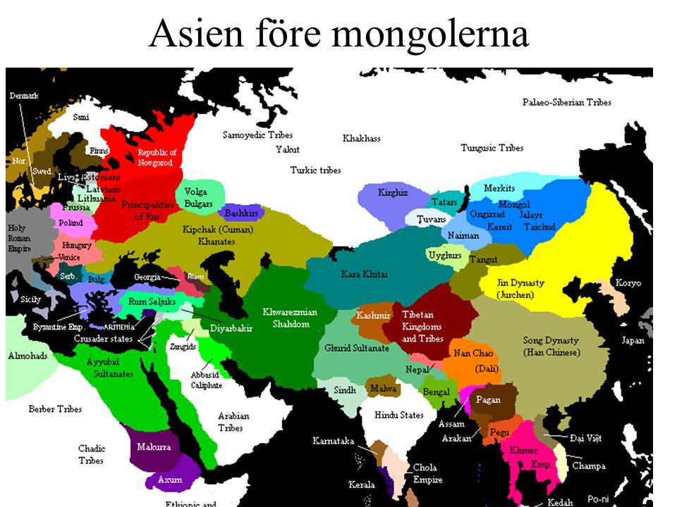 Ny utveckling på stäppen I början av tolvhundratalet samlas mongoliska stammar kring en ny ledare - Temüjin som 1206 får titeln Den universelle härskaren Genghis Khan - på mongoliska.