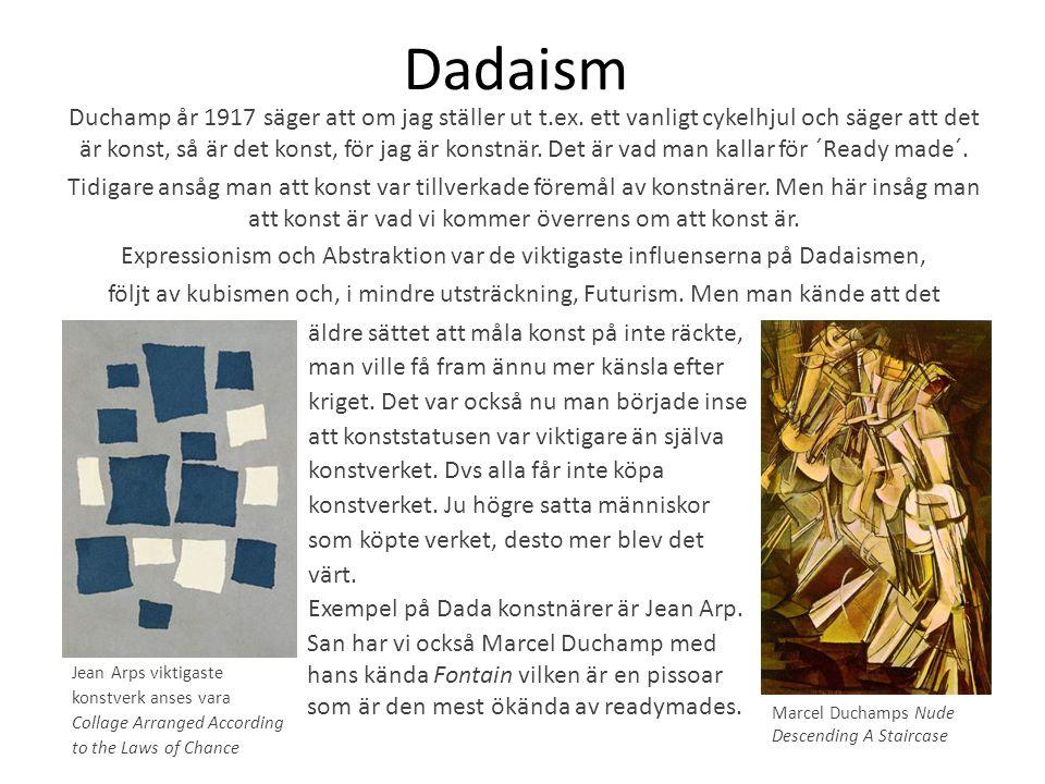Dadaism Duchamp år 1917 säger att om jag ställer ut t.ex. ett vanligt cykelhjul och säger att det är konst, så är det konst, för jag är konstnär. Det