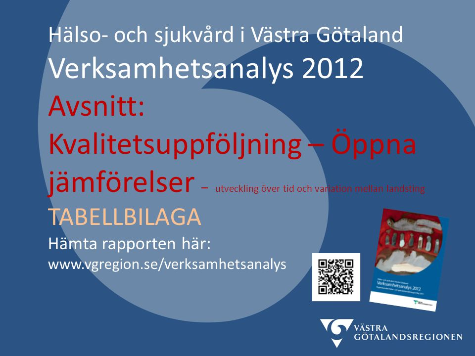 Verksamhetsanalys 2012 vgregion.se/verksamhetsanalys 22