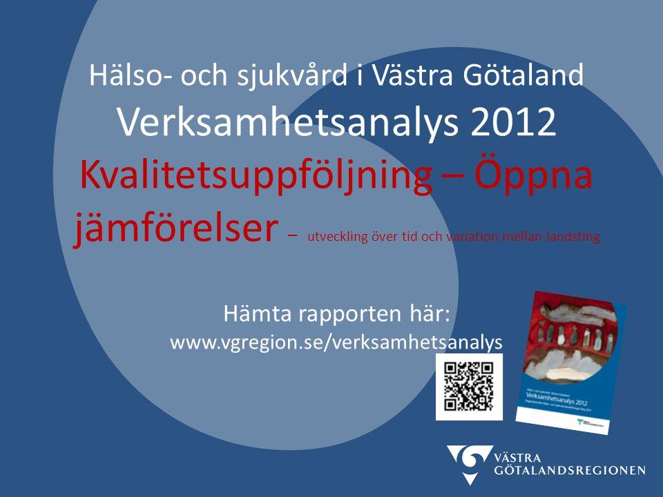 Hälso- och sjukvård i Västra Götaland Verksamhetsanalys 2012 Kvalitetsuppföljning – Öppna jämförelser – utveckling över tid och variation mellan landsting Hämta rapporten här: www.vgregion.se/verksamhetsanalys