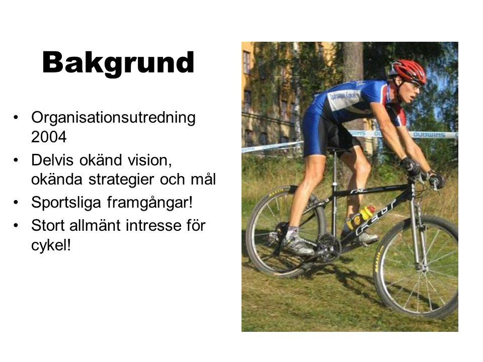 Bakgrund Organisationsutredning 2004 Delvis okänd vision, okända strategier och mål Sportsliga framgångar! Stort allmänt intresse för cykel!
