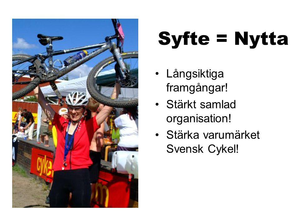 Syfte = Nytta Långsiktiga framgångar! Stärkt samlad organisation! Stärka varumärket Svensk Cykel!