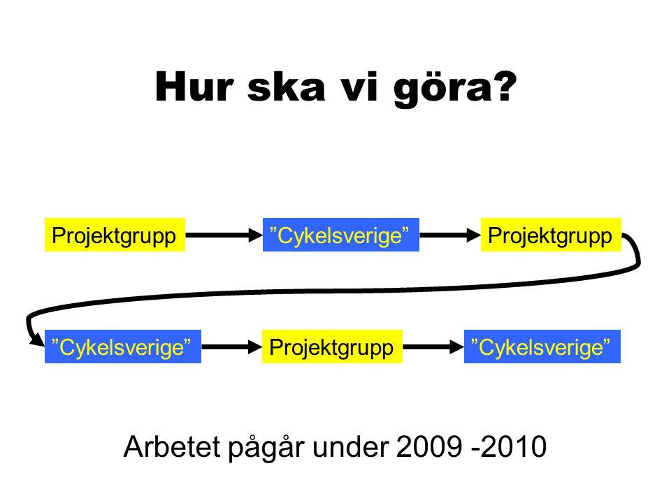 """Hur ska vi göra? Projektgrupp""""Cykelsverige""""Projektgrupp """"Cykelsverige"""" Projektgrupp Arbetet pågår under 2009 -2010"""