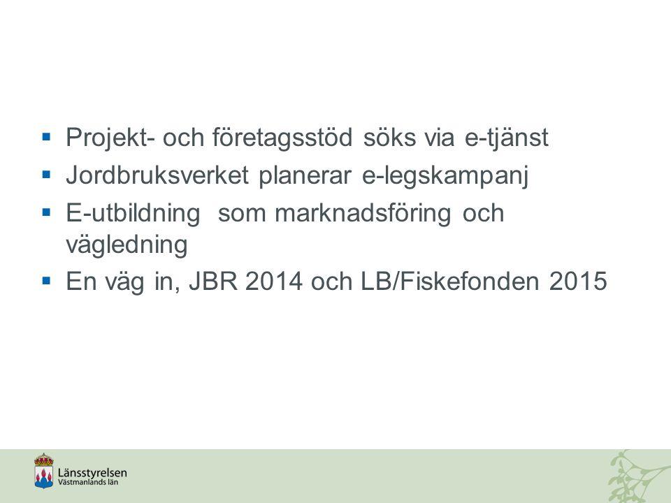 Projekt- och företagsstöd söks via e-tjänst  Jordbruksverket planerar e-legskampanj  E-utbildning som marknadsföring och vägledning  En väg in, JBR 2014 och LB/Fiskefonden 2015