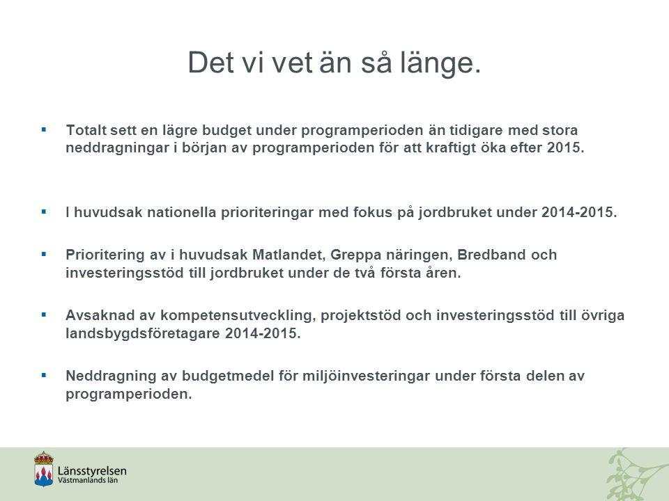En regional handlingsplan för landsbygdsprogrammet och havs- och fiskeriprogrammet för Sverige 2014-2020 Handlingsplan för Västmanlands län Innehåll: Mål Länets prioriteringar och urvalskriterier Partnerskapet SWOT-analys och identifiering av regionala behov Indikativ fördelning av budget och mål Kopplingen mellan handlingsplanen och andra mål Kommunikationsplan Uppföljning och revidering Jordbruksverket (i samråd med LST) Tillgänglig på LSTs hemsida Jordbruksverket