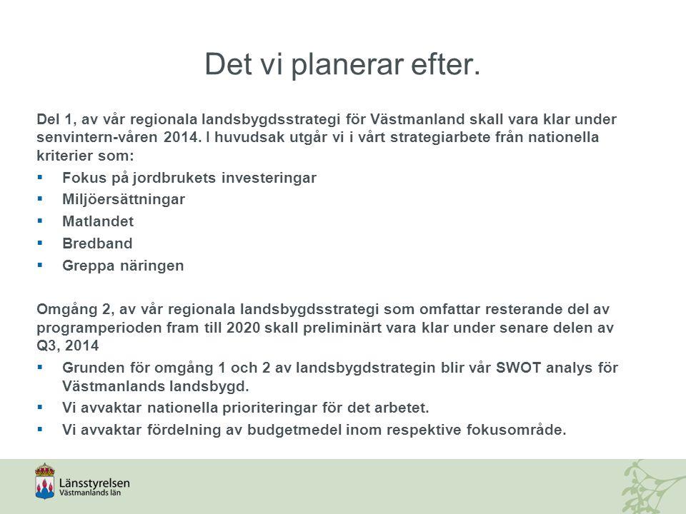 Länets prioriteringar och urvalskriterier SWOT Regionala behov och prioriteringar Regionala urvalskriterier Prioriteringar inom fokusområden (programmål) Unionsprioriteringar Nationella urvalskriterier