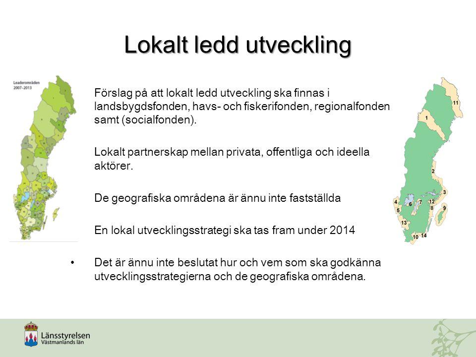 Lokalt ledd utveckling Förslag på att lokalt ledd utveckling ska finnas i landsbygdsfonden, havs- och fiskerifonden, regionalfonden samt (socialfonden).