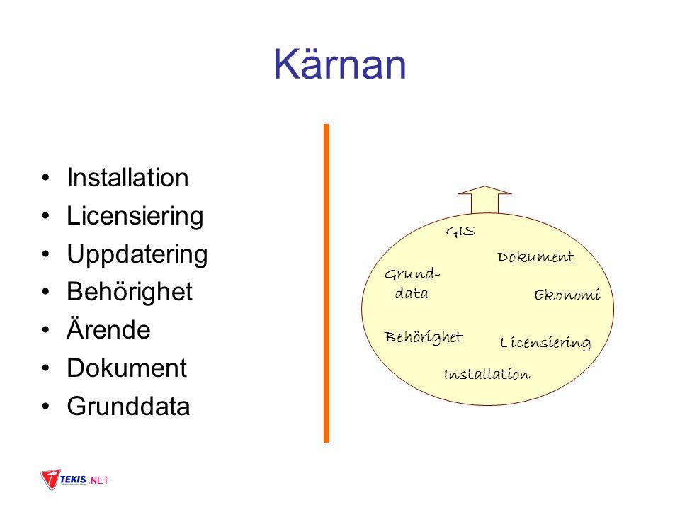 .NET Kärnan Installation Licensiering Uppdatering Behörighet Ärende Dokument Grunddata Behörighet Licensiering Dokument Grund- data Ekonomi GIS Installation