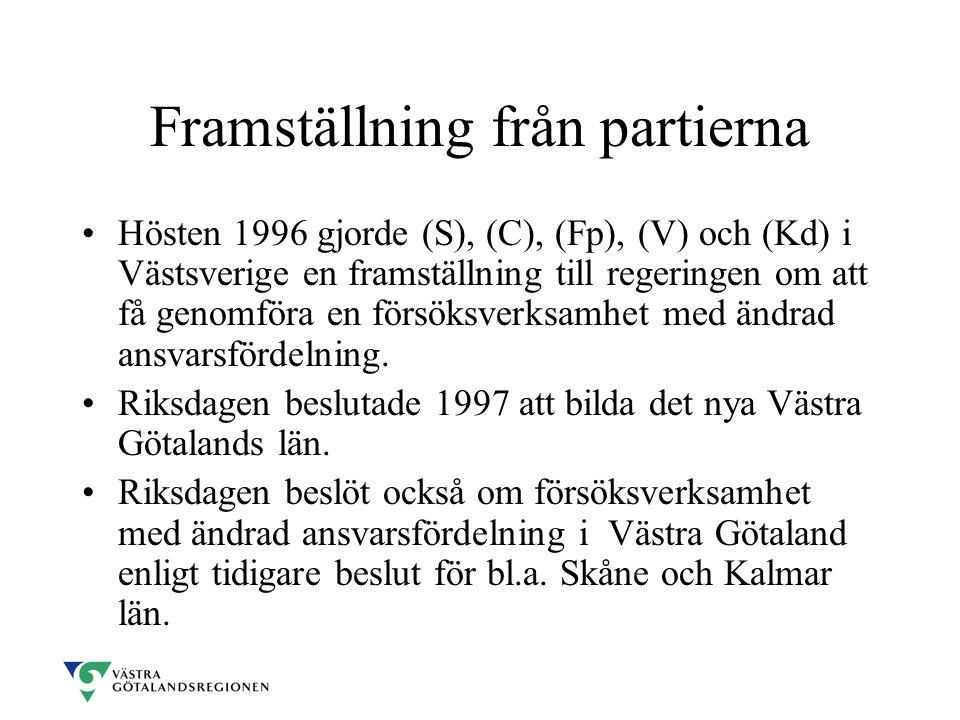 Framställning från partierna Hösten 1996 gjorde (S), (C), (Fp), (V) och (Kd) i Västsverige en framställning till regeringen om att få genomföra en försöksverksamhet med ändrad ansvarsfördelning.