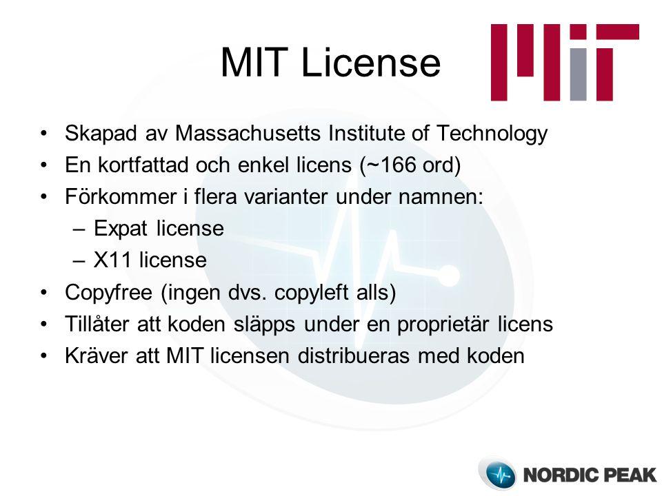 MIT License Skapad av Massachusetts Institute of Technology En kortfattad och enkel licens (~166 ord) Förkommer i flera varianter under namnen: –Expat license –X11 license Copyfree (ingen dvs.