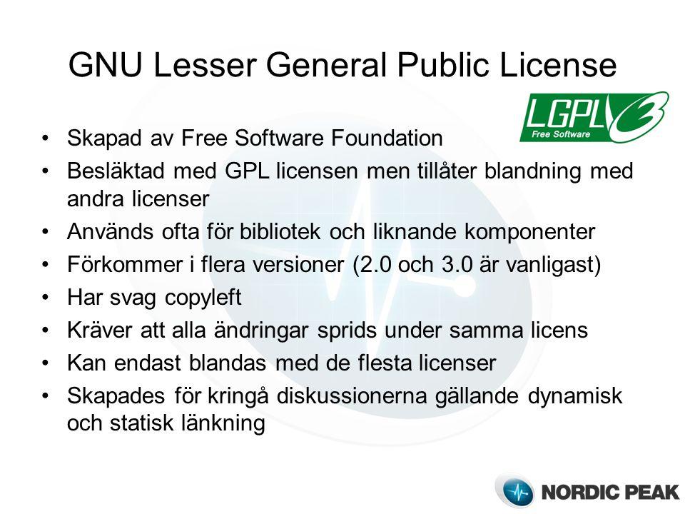 GNU Lesser General Public License Skapad av Free Software Foundation Besläktad med GPL licensen men tillåter blandning med andra licenser Används ofta för bibliotek och liknande komponenter Förkommer i flera versioner (2.0 och 3.0 är vanligast) Har svag copyleft Kräver att alla ändringar sprids under samma licens Kan endast blandas med de flesta licenser Skapades för kringå diskussionerna gällande dynamisk och statisk länkning