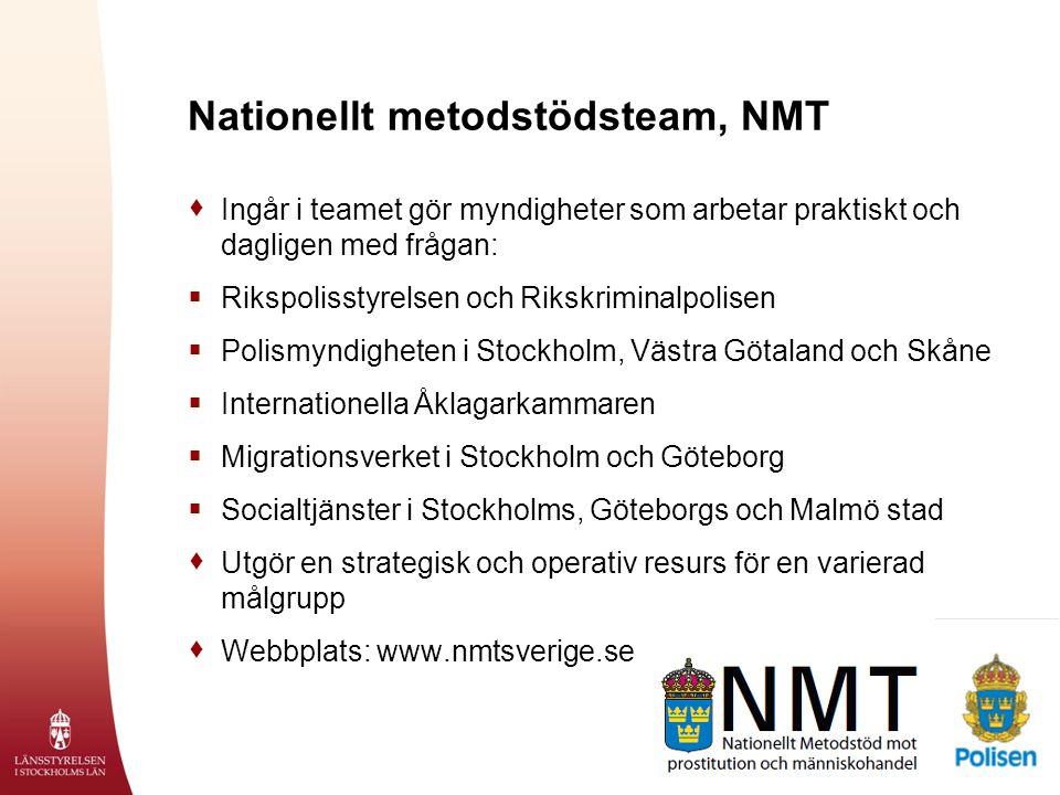 Nationellt metodstödsteam, NMT  Ingår i teamet gör myndigheter som arbetar praktiskt och dagligen med frågan:  Rikspolisstyrelsen och Rikskriminalpo