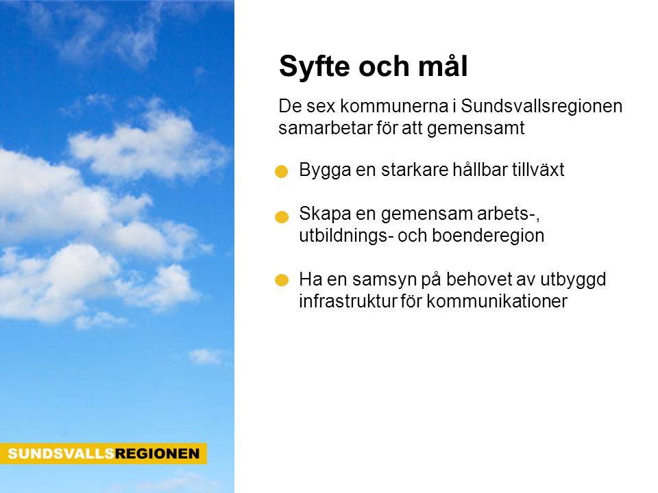 Syfte och mål De sex kommunerna i Sundsvallsregionen samarbetar för att gemensamt Bygga en starkare hållbar tillväxt Skapa en gemensam arbets-, utbild