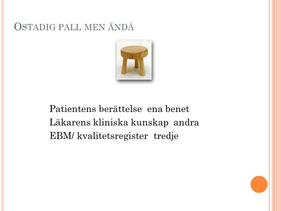 O STADIG PALL MEN ÄNDÅ Patientens berättelse ena benet Läkarens kliniska kunskap andra EBM/ kvalitetsregister tredje